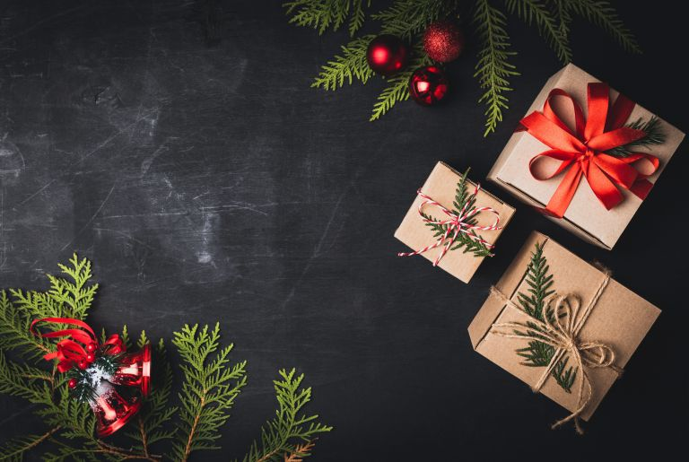 Presents on a black background