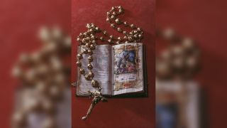 The rosary beads and bible belonging to Mary Queen of Scots (1542-1587) on display at Arundel Castle.