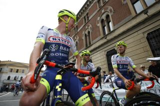 Frederik Backaert and his Wanty-Gobert teammates line up for the start of the 2019 Coppa Bernocchi in Legnano, Italy
