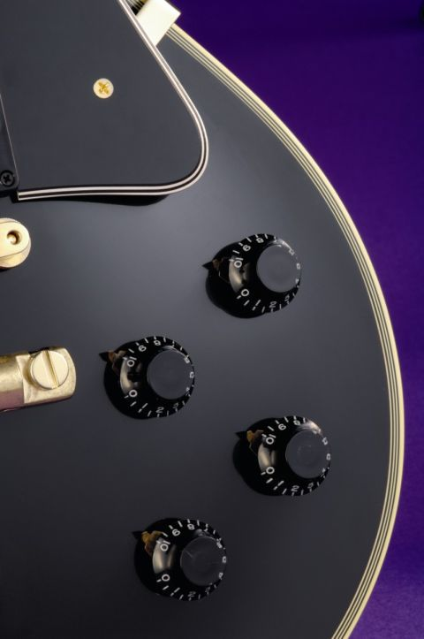 The Les Paul Custom's classic array of twin volume and tone controls