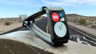 A smartwatch on Route 66