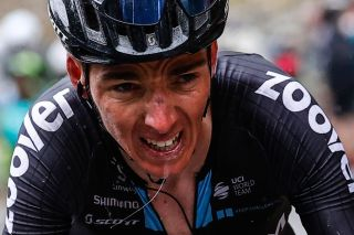 Team DSM rider Frances Romain Bardet rides in the final ascent of the 20th stage of the Giro dItalia 2021 cycling race 164km between Verbania and Valle Spluga Alpe Motta Madesimo on May 29 2021 Photo by Luca Bettini AFP Photo by LUCA BETTINIAFP via Getty Images
