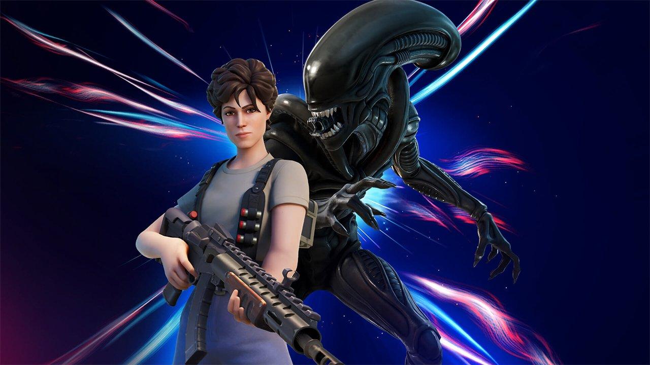 A Fortnite skin of the Xenomorph from Alien standing behind Ellen Ripley
