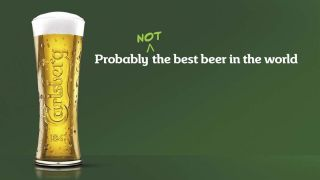 Doctored Carlsberg advert that reads: probably not the best beer in the world
