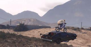 gta character riding a motorbike