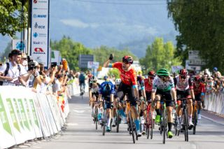 Phil Bauhaus (Bahrain Victorious) wins stage 1 of the Tour of Slovenia in 2021