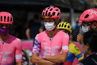 LIDODICAMAIORE ITALY SEPTEMBER 07 Start Magnus Cort of Denmark and Team EF Pro Cycling Mask Covid safety measures Team Presentation during the 55th TirrenoAdriatico 2020 Stage 1 a 133km stage from Lido di Camaiore to Lido di Camaiore TirrenAdriatico on September 07 2020 in Lido di Camaiore Italy Photo by Justin SetterfieldGetty Images
