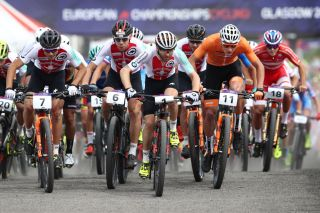 The Men's Mountain Bike Cross-Country on Day Six of the European Championships Glasgow 2018 at Cathkin Braes Mountain Bike Trails on August 7, 2018 in Glasgow, Scotland.