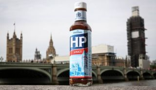 A bottle of HP sauce outside the Houses of Parliament