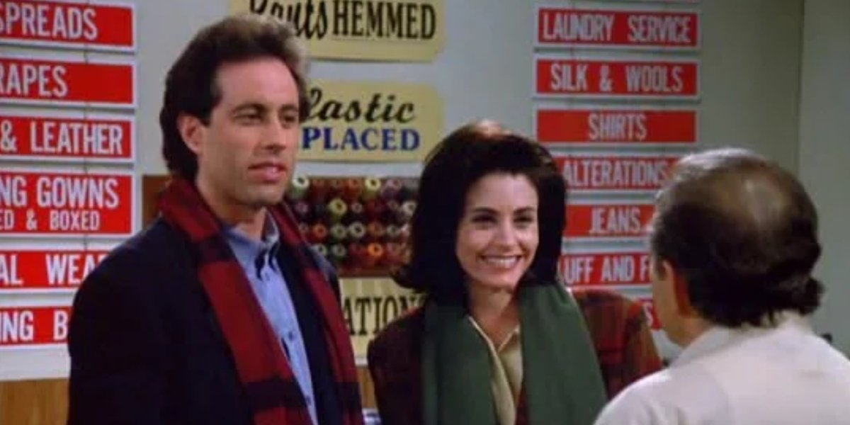 Jerry Seinfeld and Courteney Cox on Seinfeld