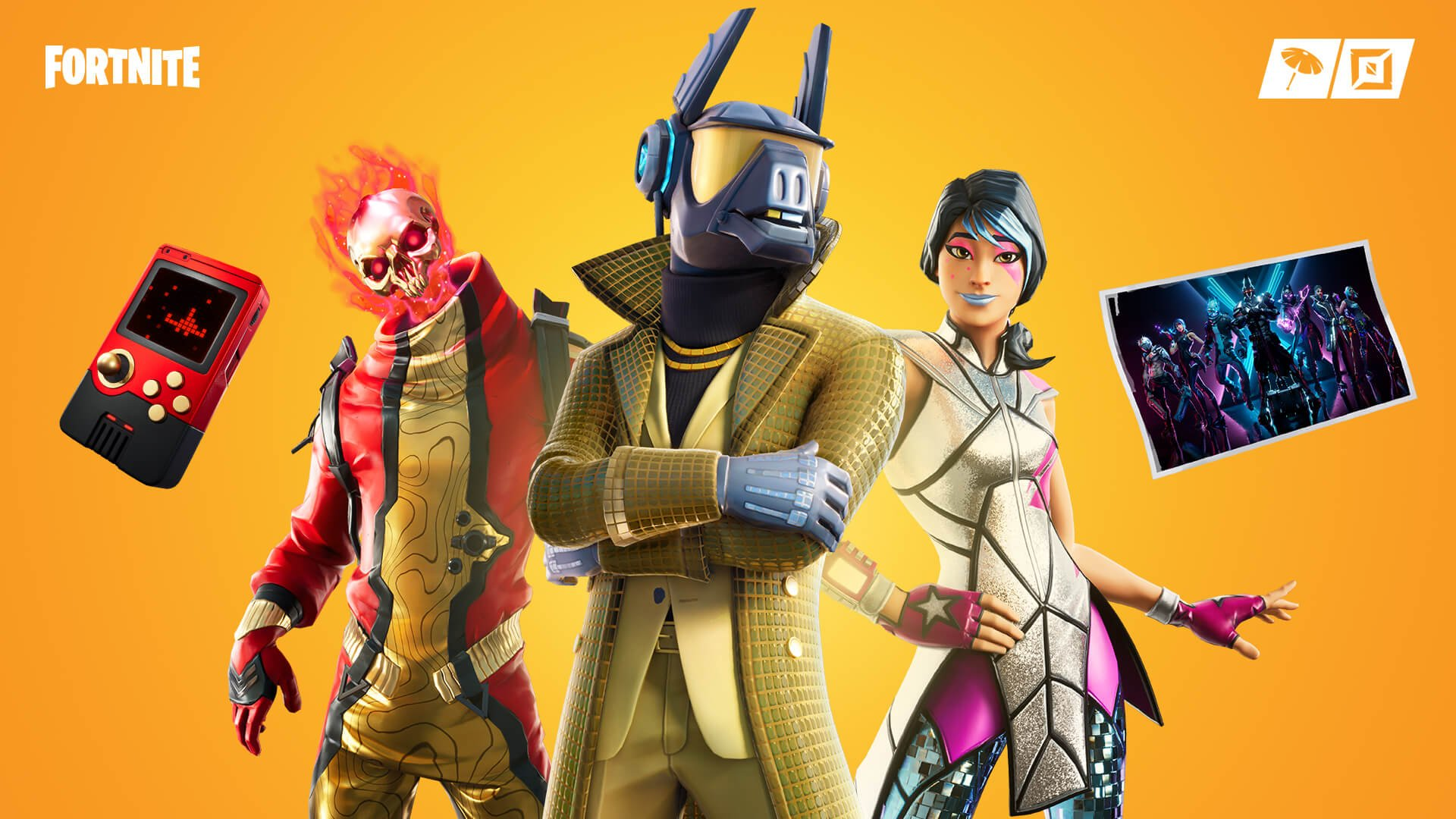 A Fortnite skin for a character with a suit and a Daft Punk-esque helmet