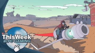 Sable character riding a hoverbike in the desert.