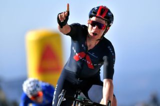 FOIA PORTUGAL MAY 06 Ethan Hayter of United Kingdom and Team INEOS Grenadiers celebrates at arrival during the 47th Volta Ao Algarve 2021 Stage 2 a 1828km stage from Sagres to Fia 890m VoltAlgarve VAlgarve2021 on May 06 2021 in Fia Portugal Photo by Luc ClaessenGetty Images