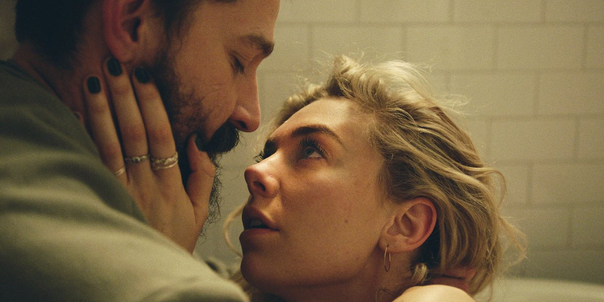 Pieces of a Woman Vanessa Kirby looking up at Shia LaBeouf from the tub