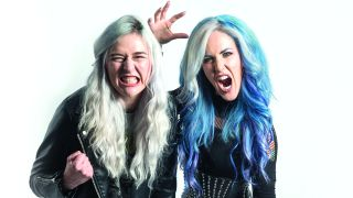 a portrait of Arch Enemy's Alissa White-Gluz and Venom Prison's Larissa Stupar