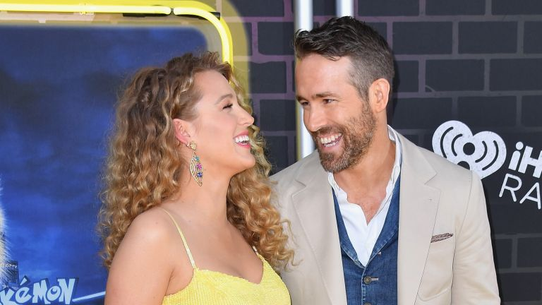 """US actor Ryan Reynolds and his wife actress Blake Lively attend the premiere of """"Pokemon Detective Pikachu"""" at Military Island - Times Square on May 02, 2019 in New York City"""