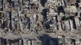 Port-au-Prince, the capital of Haiti, damaged by the magnitude-7 earthquake that struck the region in January 2010.
