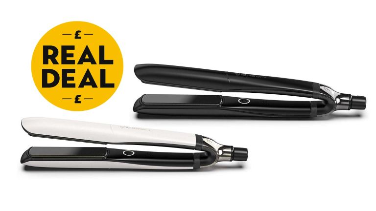 GHD Platinum+ stylers in black and white with RH real deal logo