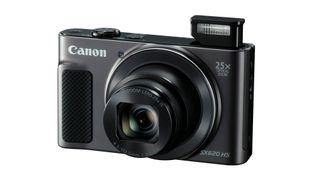 A black Canon PowerShot SX620 HS
