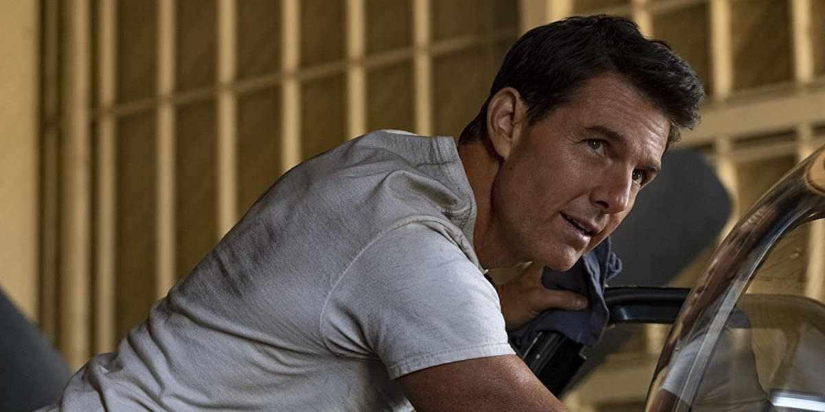 "Pete ""Maverick"" Mitchell (Tom Cruise) stares on in Top Gun: Maverick (2021)"