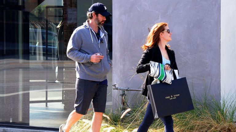 Amy Adams (R) and fiance Darren Le Gallo are seen on February 06, 2015 in Los Angeles, California.