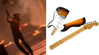 (left) Prince smashes a Stratocaster, (right) the remains of said Stratocaster