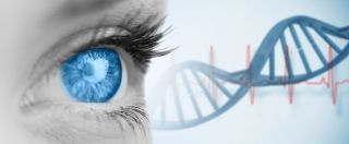 In an artist's image, woman eye's a snippet of DNA