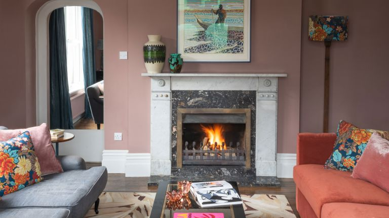 Colorful living room in Edwardian beachside retreat in Kent
