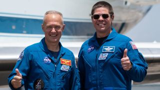 NASA astronauts Bob Behnken (right) and Doug Hurley (left) arrived today (May 20, 2020) at NASA's Kennedy Space Center a week ahead of their historic test mission Demo-2 aboard SpaceX's Crew Dragon capsule.