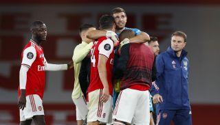 Arsenal celebrates after a Premier League game.