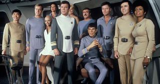 "The cast of ""Star Trek: The Original Series"" pose for a photo."