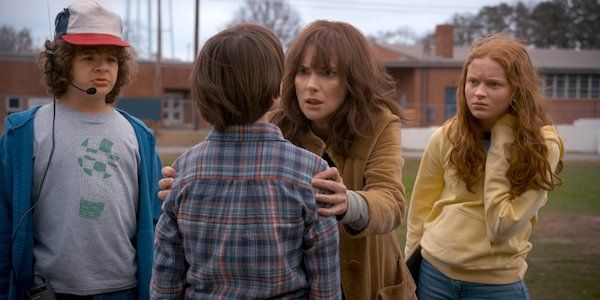 Joyce and Dustin speaking with Will in Season 2