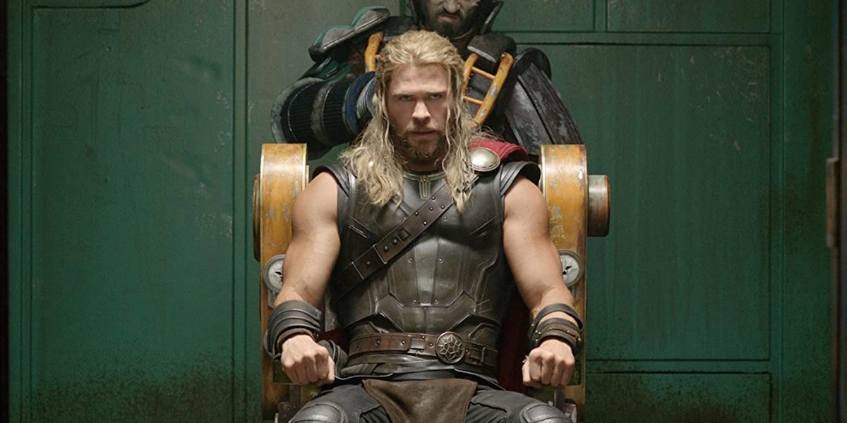 Thor getting a haircut in Ragnarok