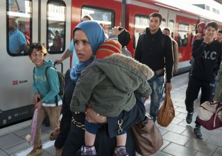 A mother and daughter from Syria in Munich., Germany.
