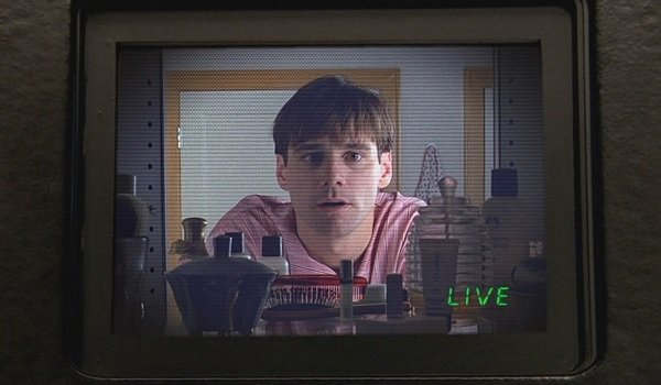 The Truman Show Jim Carrey bathroom mirror broadcast