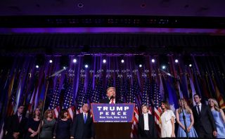 Republican president-elect Donald Trump delivers his acceptance speech during his election night event at the New York Hilton Midtown in the early morning hours of November 9, 2016 in New York City.