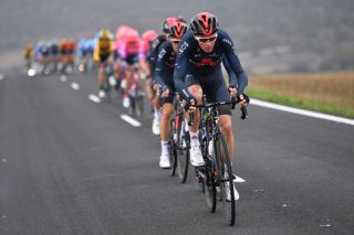 VILLANUEVA DE VALDEGOVIA SPAIN OCTOBER 27 Christopher Froome of The United Kingdom and Team INEOS Grenadiers Peloton during the 75th Tour of Spain 2020 Stage 7 a 1597km from VitoriaGasteiz to Villanueva de Valdegovia lavuelta LaVuelta20 La Vuelta on October 27 2020 in Villanueva de Valdegovia Spain Photo by Justin SetterfieldGetty Images