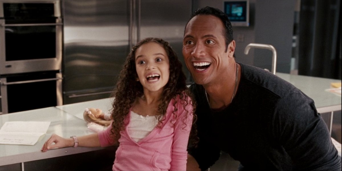 Madison Pettis and Dwayne Johnson in The Game Plan