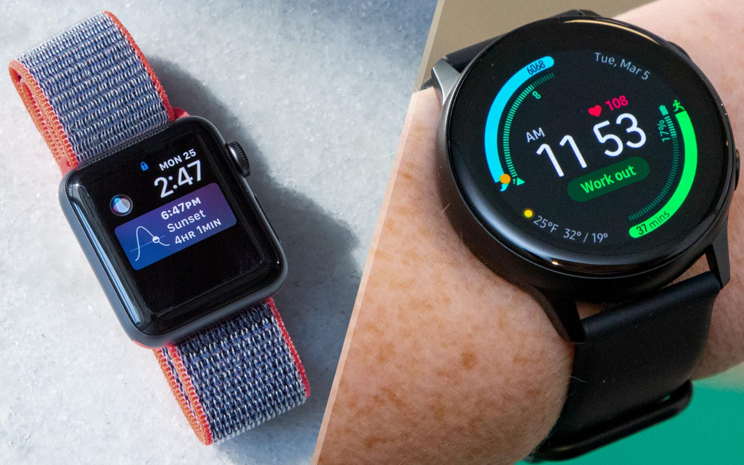 Samsung Galaxy Watch Active Vs Apple Watch Which Smartwatch Wins Tom S Guide
