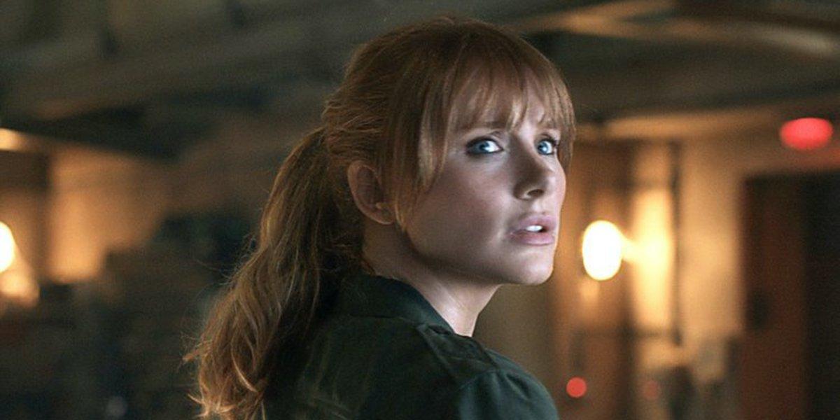 Claire (Bryce Dallas Howard) looks worried in a scene from Jurassic World: Fallen Kingdom