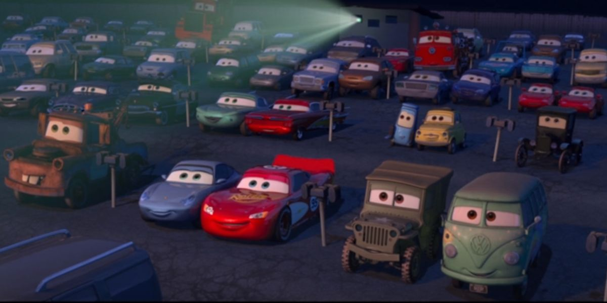 Cars in drive-in