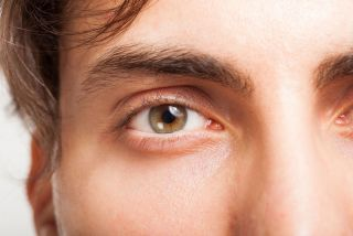 a close up of a person's eye