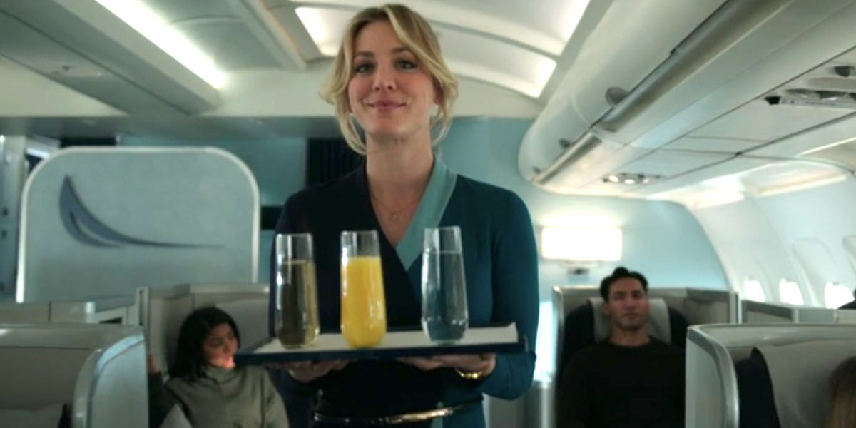 the flight attendant season 1 hbo max kaley cuoco serving drinks