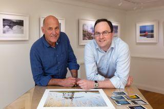 Charlie Waite with Luke Whitaker, the director of Bosham Gallery