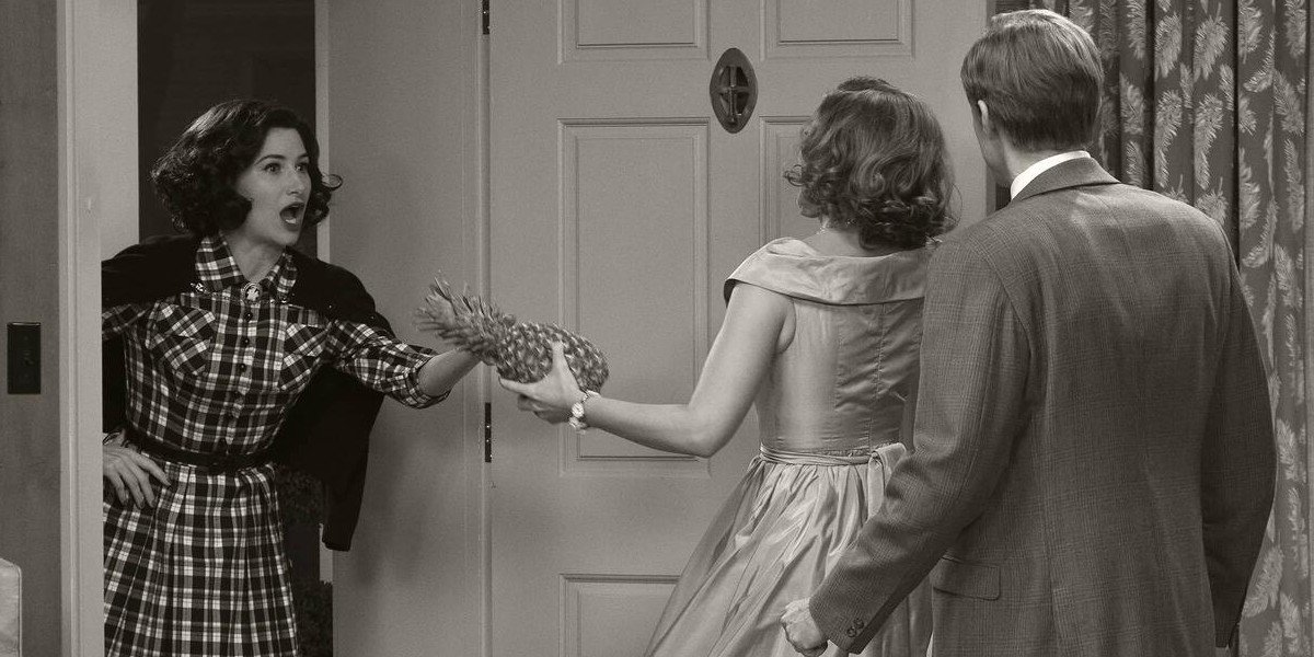 Kathryn Hahn at the door