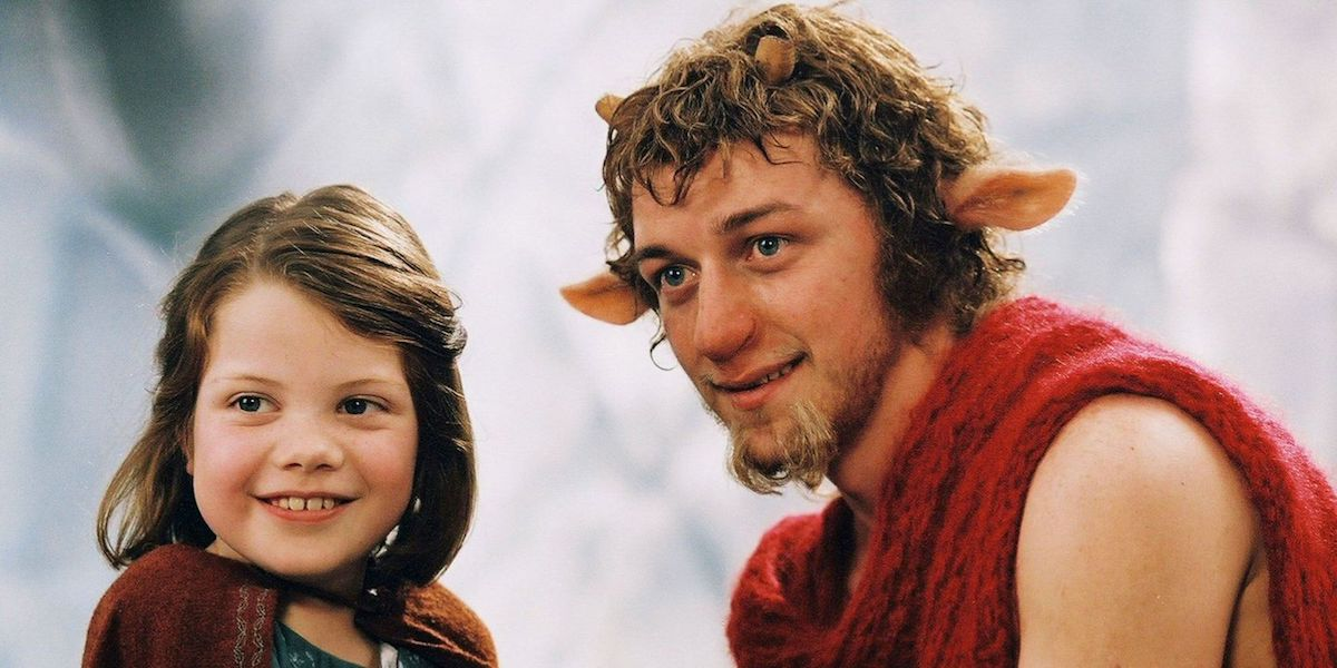 Georgie Henley and James McAvoy as Lucy and Mr Tumnus in The chronicles of Narnia: The Lion, the Witch and the Wardrobe