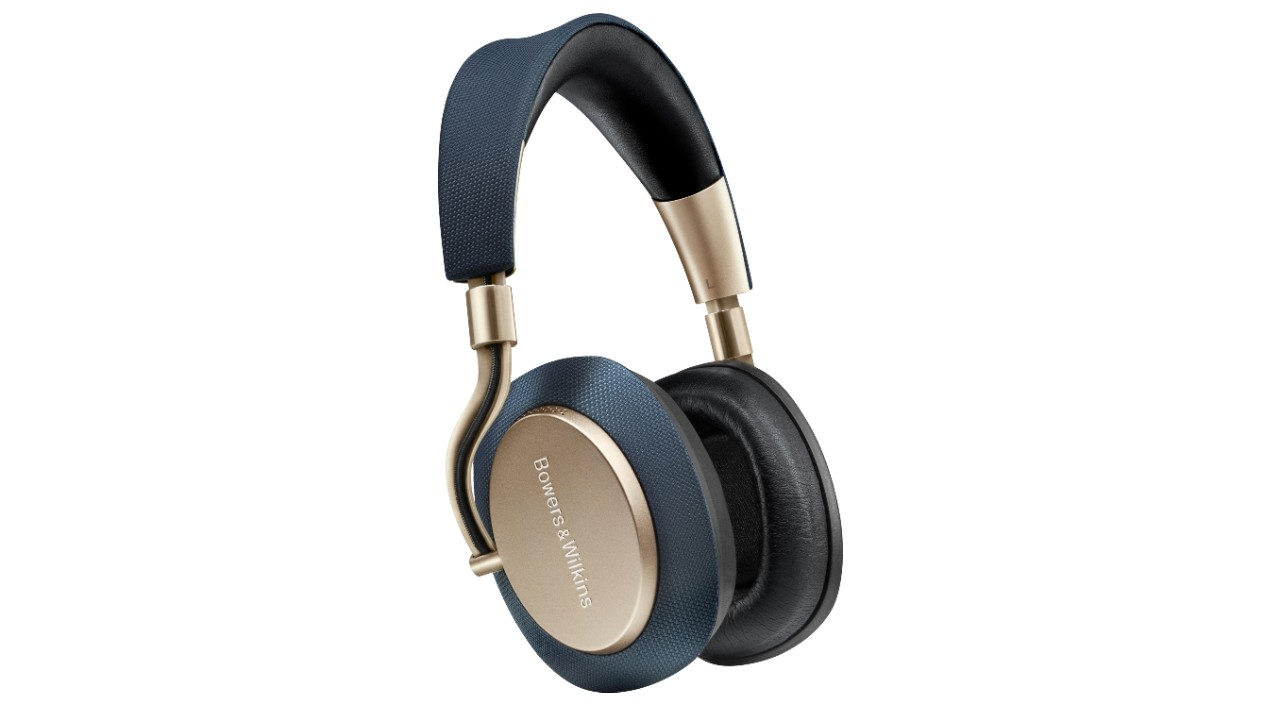 the Bowers and Wilkins PX7 Wireless noise canceling headphones in navy and gold