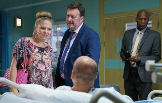 Linda Carter bursts into the hospital to confront Stuart