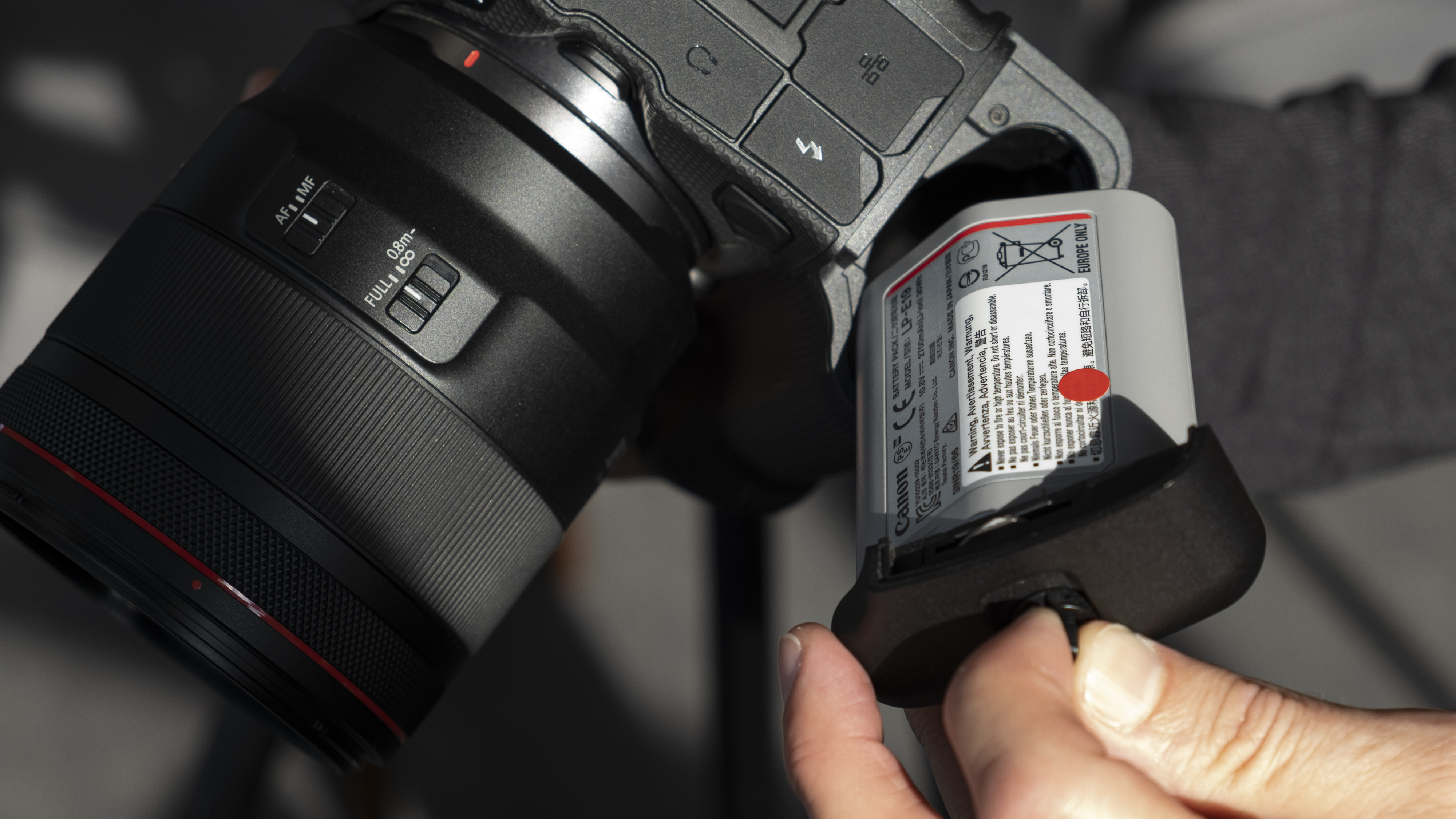 The battery of the Canon EOS R3 mirrorless camera