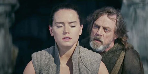 Rey and Luke using the force